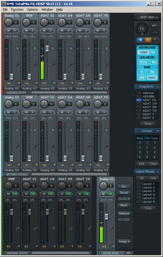 Mixer der RME HDSP9632