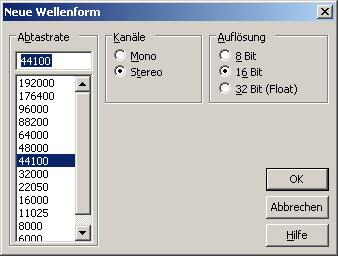 Wahl des Audioformat für die Aufnahme in Adobe Audition