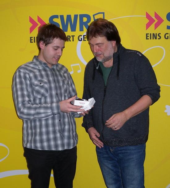 Übergabe der SDR 3 Top Tausend X an Thomas Schmidt
